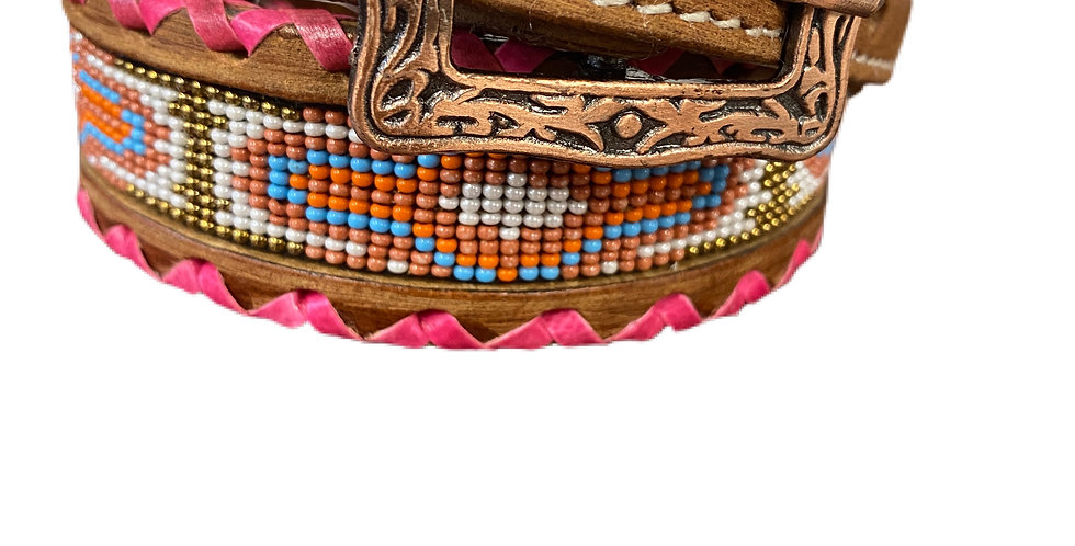 Genuine leather dog collar with beaded inlay