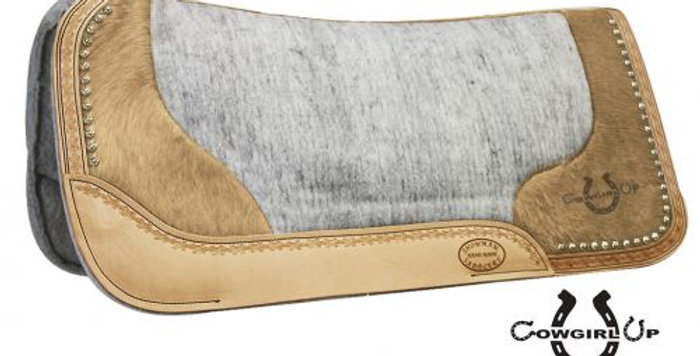 """Argentina Cowhide With Laser Etched """" Cowgirl Up"""" Saddle Pad"""