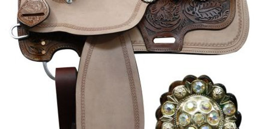 """13"""" Double T Floral Tooled Saddle with Crystal Concho Set"""