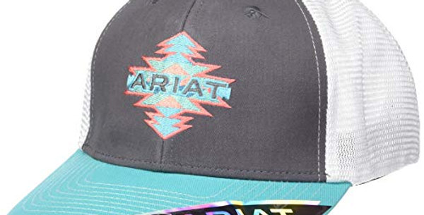 Ariat Womens Aztec Name Mesh Snap Back Cap, Grey and Turquoise, Coral One Size F