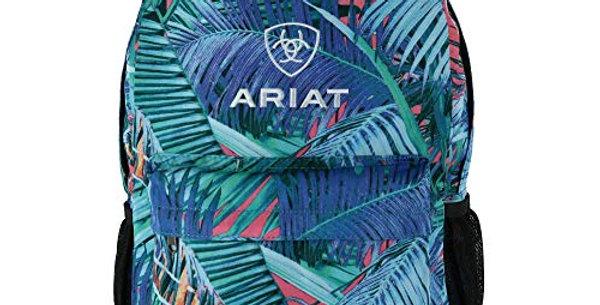 ARIAT Unisex Backpack Blue w/Palm Leaf Print