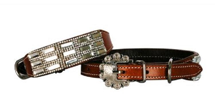 Genuine leather dog collar with clear rhinestone crystals.