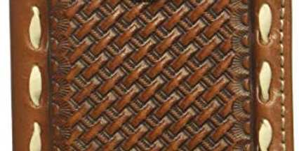 Basket Stamp Circle Concho Buckstitch Tri-fold Wallet