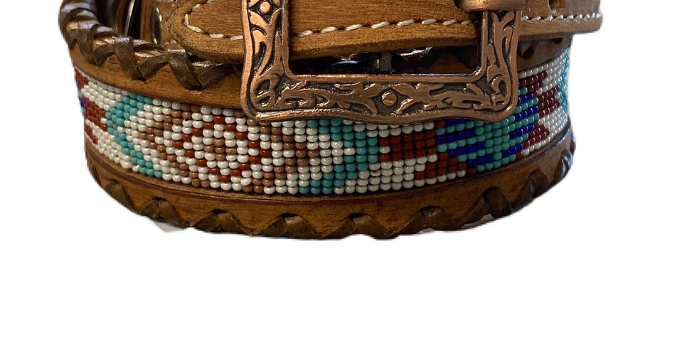 Genuine leather dog collar with beaded inlay DC-31
