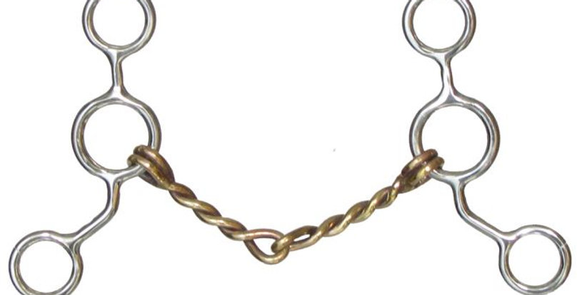"""5"""" Jr. Cow Horse Twisted Copper Mouth Stainless Steel Snaffle Bit"""