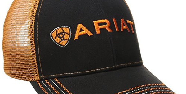 ARIAT Men's Black Orange Mesh Hat, One Size