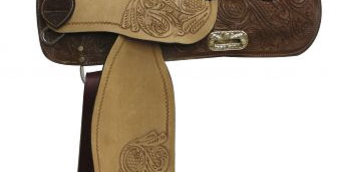 Double T Barrel Saddle With Floral Tooling