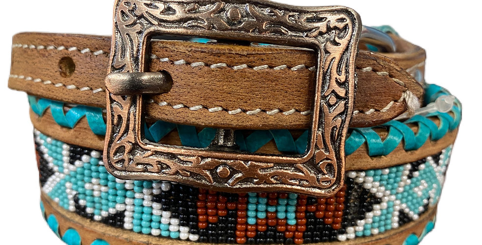 Genuine leather dog collar with beaded inlay DC-36
