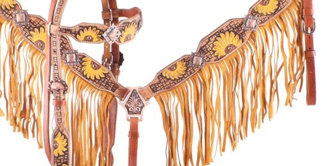 Hand Painted Sunflower Browband Headstall and Breastcollar Set 7060X