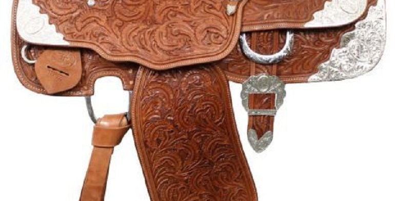 """16"""" Fully tooled Double T Medium Oil Show Saddle Loaded w/Silver!"""