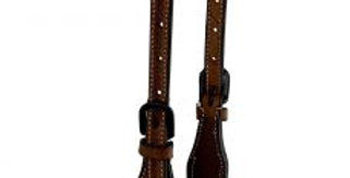 Argentina cow leather single ear headstall with rawhide inlay design AK-805