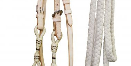 Bosal Leather Rawhide Headstall with Reins