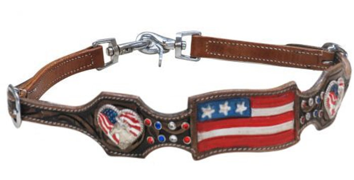 American Flag Leather Wither Strap