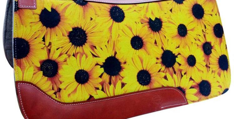 """31"""" X 32"""" Sunflower Printed Solid Felt Saddle Pad"""