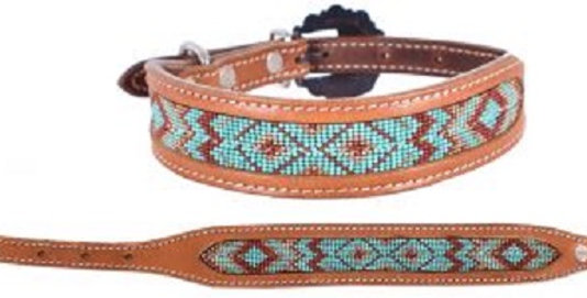 Genuine leather dog collar with teal, gold & burgundy beaded inlay.