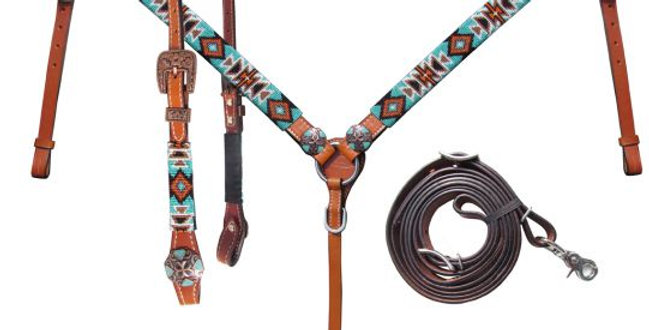 Showman Beaded Aztec Leather Bridle & Breast Collar set