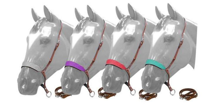 Glitter Overlay Leather Tie Down Noseband And Strap