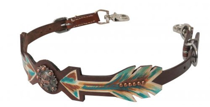 Arrows and Praying Cowboy Leather Wither Strap
