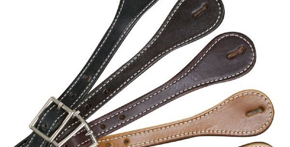 """Adult size Leather Spur Straps with nickel plated buckle. Adjust 8"""" to 10"""""""