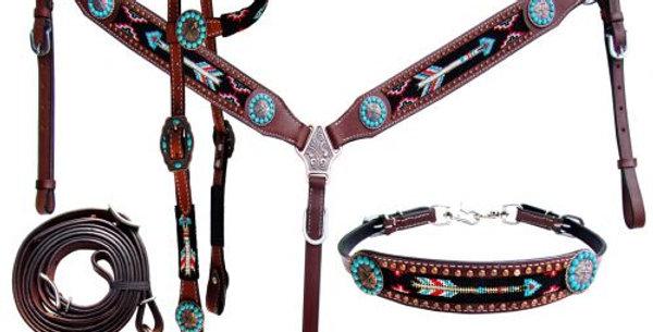 Beaded Arrow Leather Bridle Breast Collar Set
