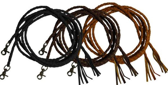 Leather braided split reins