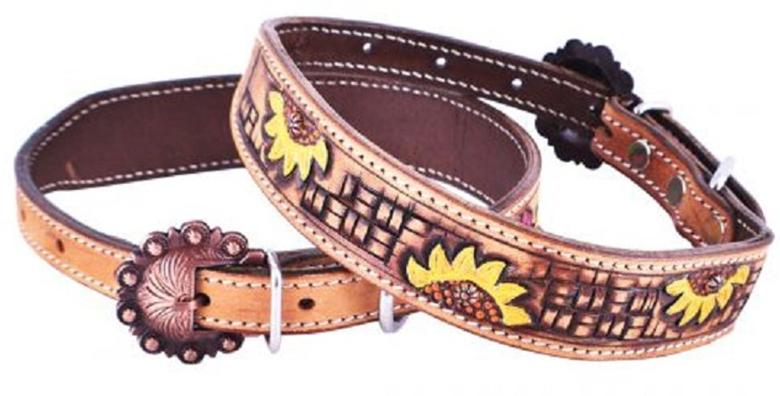Hand Painted Sunflower leather dog collar with copper buckle