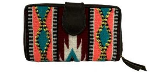 Genuine Leather  Wool Turquoise, Coral, & Burgundy design Saddle Blanket Wallet