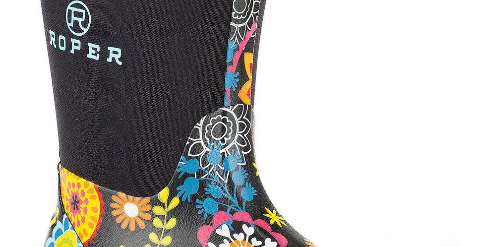 Girls Roper Flower Garden Rubber Boot Size 10