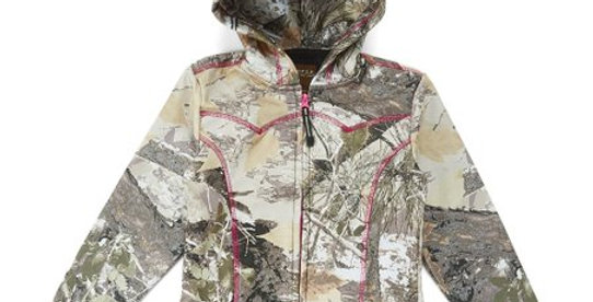 Brown Winter Camo Bonded Fleece Zip-Up Hoodie - Girls