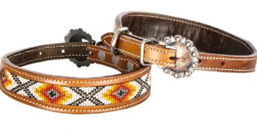 Genuine leather dog collar beaded inlay Orange Yellow White