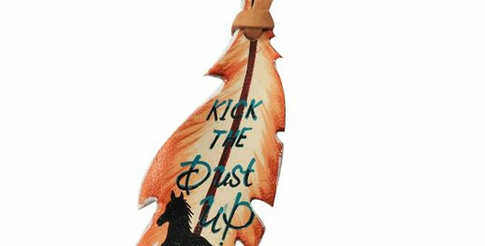 """""""Kick the Dust Up"""" hand painted tie-on feather."""