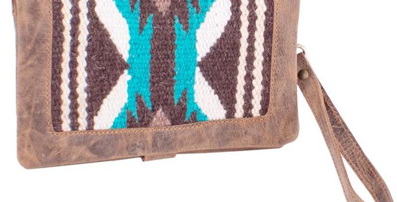 Genuine Leather Teal and Brown Saddle Blanket Wallet