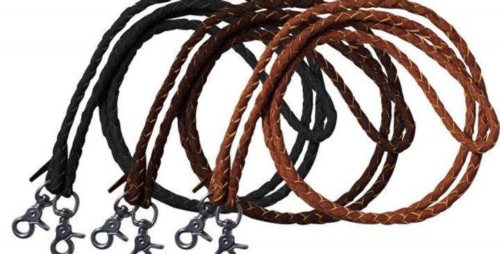 Braided split leather roping reins