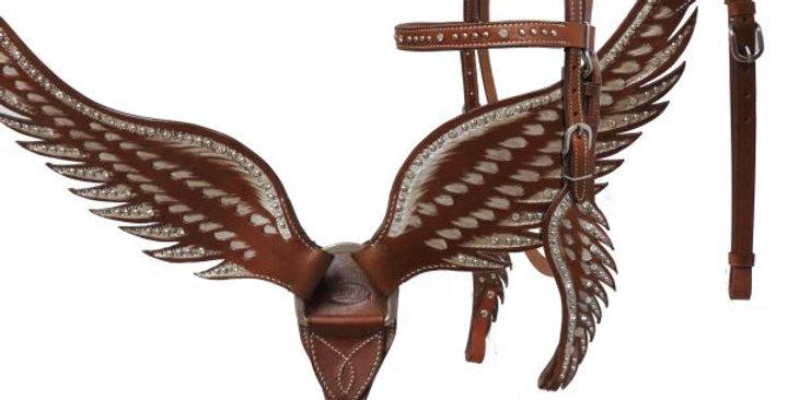 Showman Crystal Angel Wings Bridle & Breast Collar Set