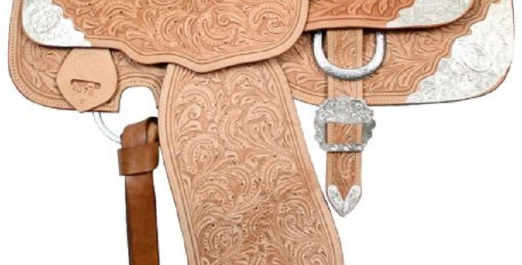 """16"""" Fully tooled Double T Light Oil Show Saddle Loaded w/Silver!"""