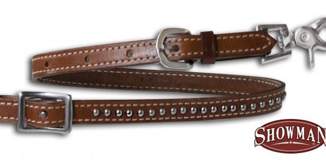 Double Stitched Studded Leather Wither Strap