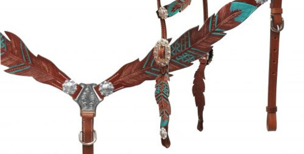 Cut- out teal painted feather headstall and breast collar 13689