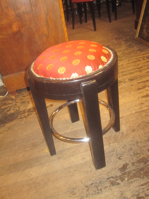 Art Deco Lacquered wood and chrome stool