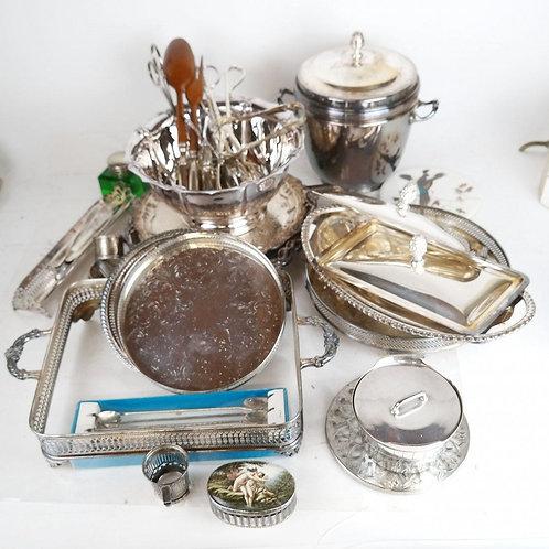 A Klondike of silverplate tableware pieces