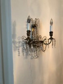 Pair of bronze and crystal beaded sconces