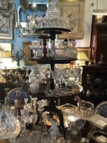 Tower of antique crystal Vases bowls table ware glasses