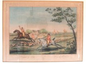 Evacher french hand colored engraving