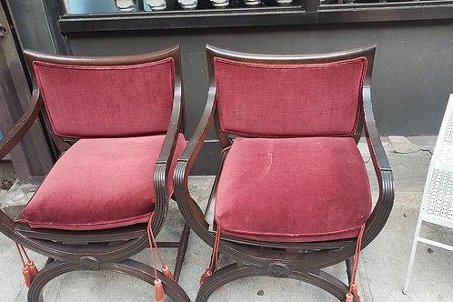 Pair of walnut and velvet Italian Curule Chairs