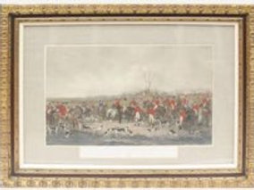 """""""The Bedale Hunt"""", English Hunt Print by Anson Martin, Engraved by W. H. Simmons"""