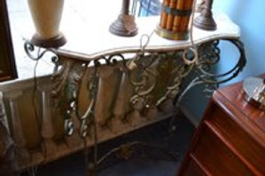 Marble top wrought iron console