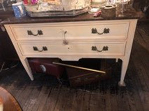 Painted commode with faux marble top