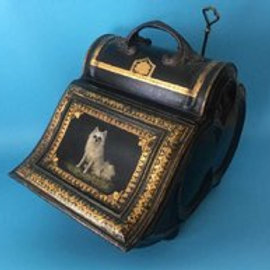 The Best 19th C. Tole Coal Bin With Dog Decoration