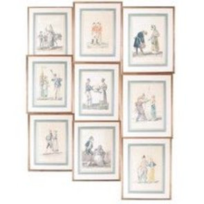 Set of Nine Antique 19th Century Color Fashion Prints