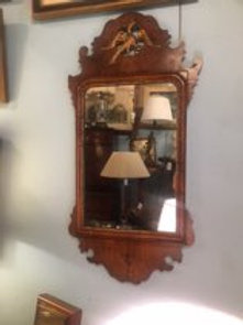 Gilt Laurel Leaf Carved Oval Mirror