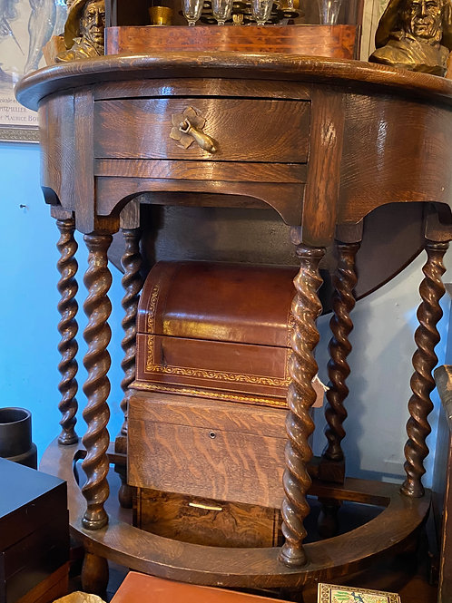 Oak console dropleaf table